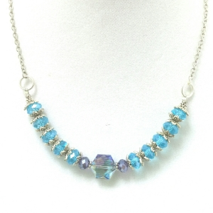 Purple and Teal Crystal Necklace $34