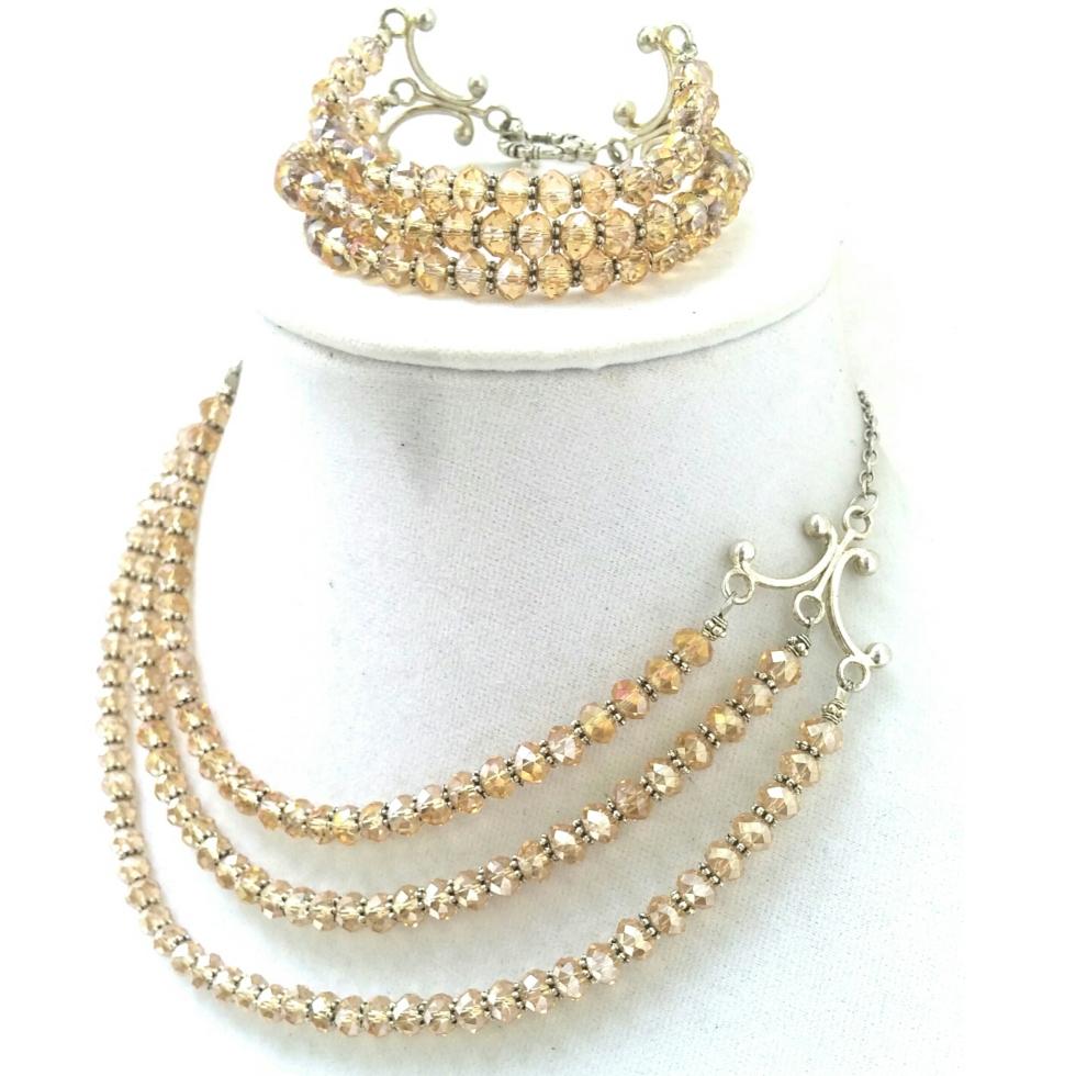 Handmade Jewelry, Handmade Crystal Jewelry, Handmade Jewelry Set, Champagne Crystal, Statement Jewelry, Statement Necklace, Crystal Bracelet, Crystal Necklace, Unique Crystal Jewelry