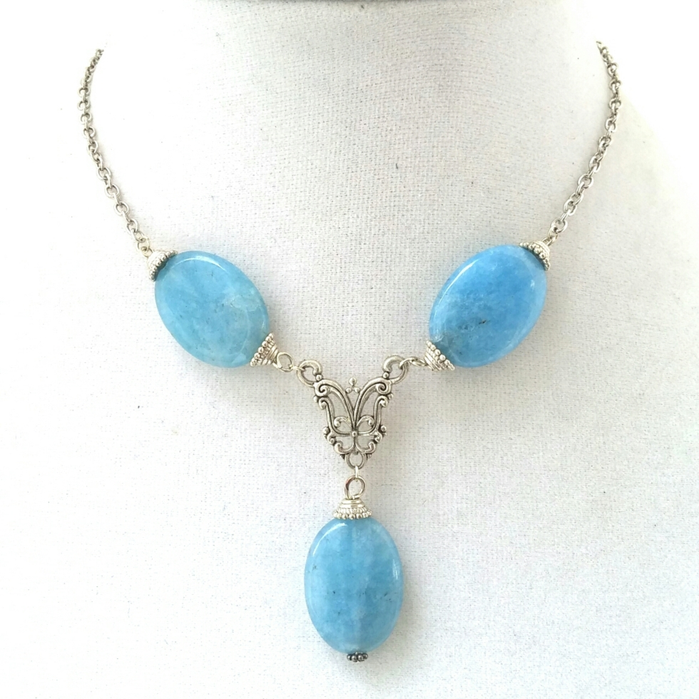 Statement Jewelry, Stone Jewelry, Statement Necklace, Stone Statement Jewelry, Healing Stone Jewelry, Blue Jewelry, Blue Necklace, Unique Handmade Jewelry, Handmade Necklace