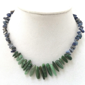 Sodalite and Jade Statement Necklace $24