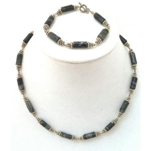 Snowflake Jasper Necklace and Bracelet Set $29