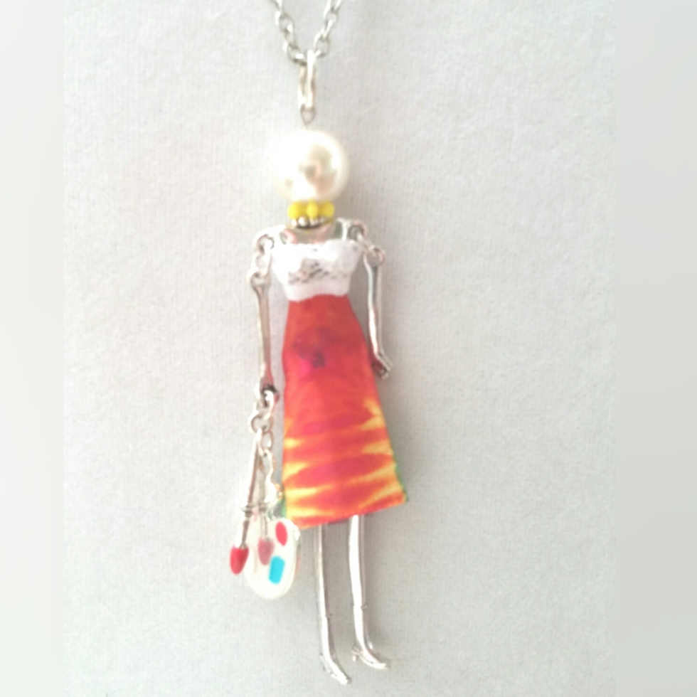 Doll, Doll Necklace, Statement Jewelry, Statement Necklace, Artist, Artist Necklace, Unique Jewelry, Unique Necklace