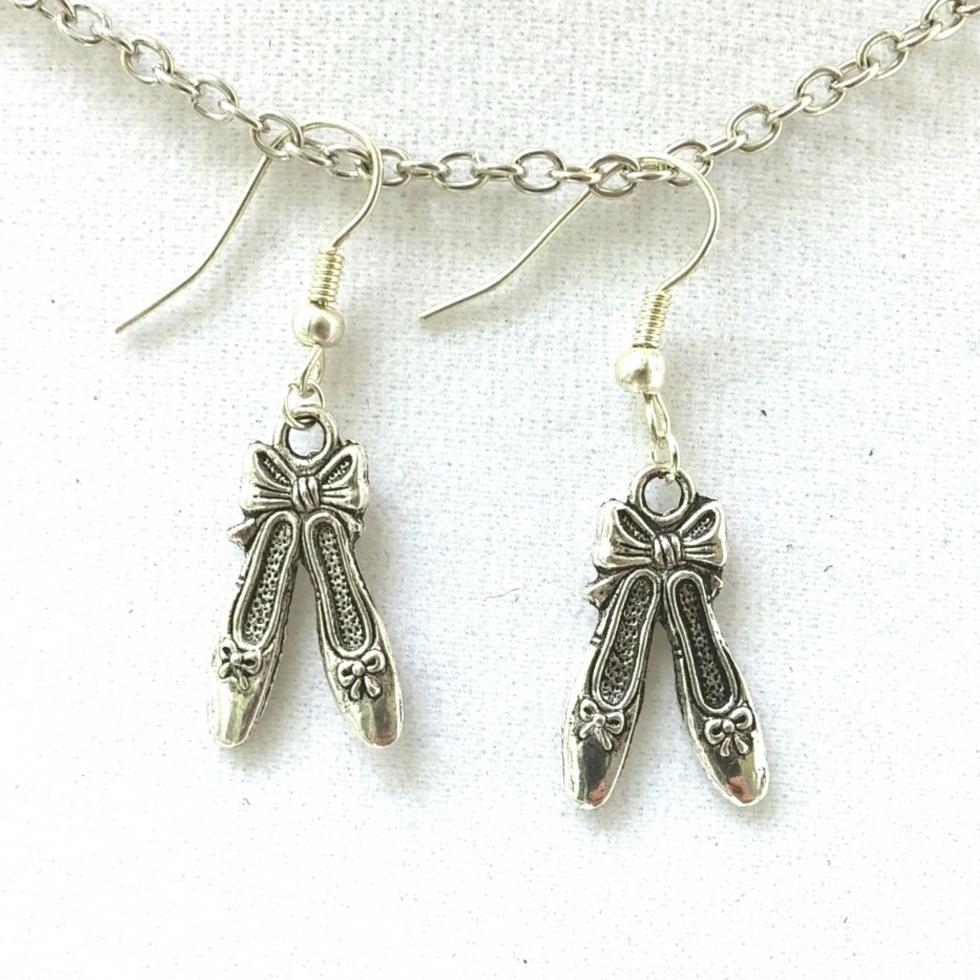 Ballet Shoe Earrings, dancer earrings, silver earrings