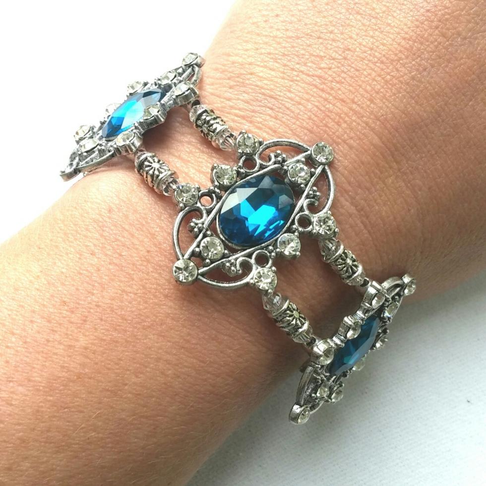 Blue Bracelet, princess jewelry, bridal jewelry, wedding jewelry