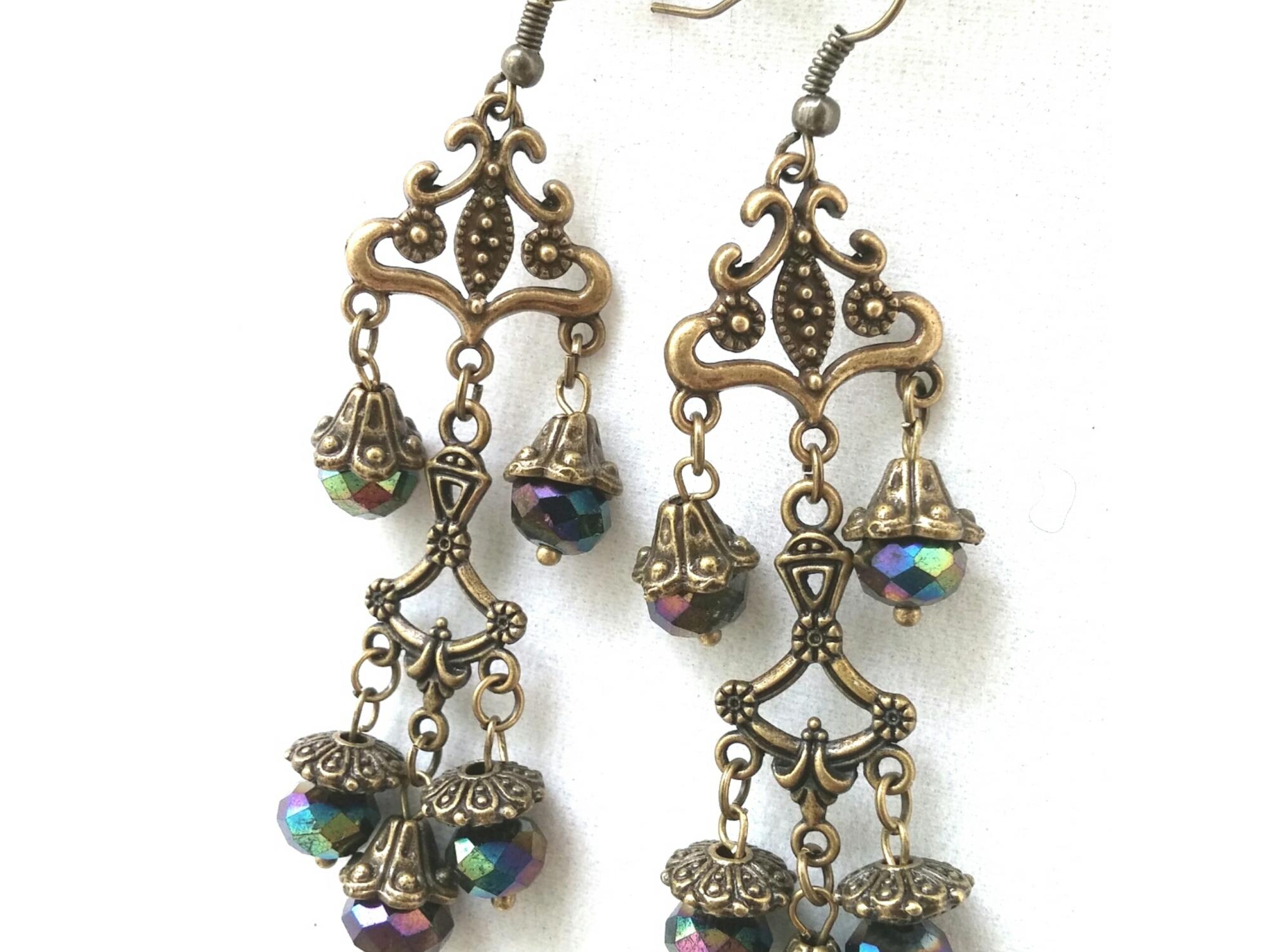 Statement Earrings, Bollywood Jewelry, Bollwood Inspired, Chandelier Earrings, Gold Earrings, Bronze Earrings, Black Earrings, Statement Jewelry, Artisian Jewelry