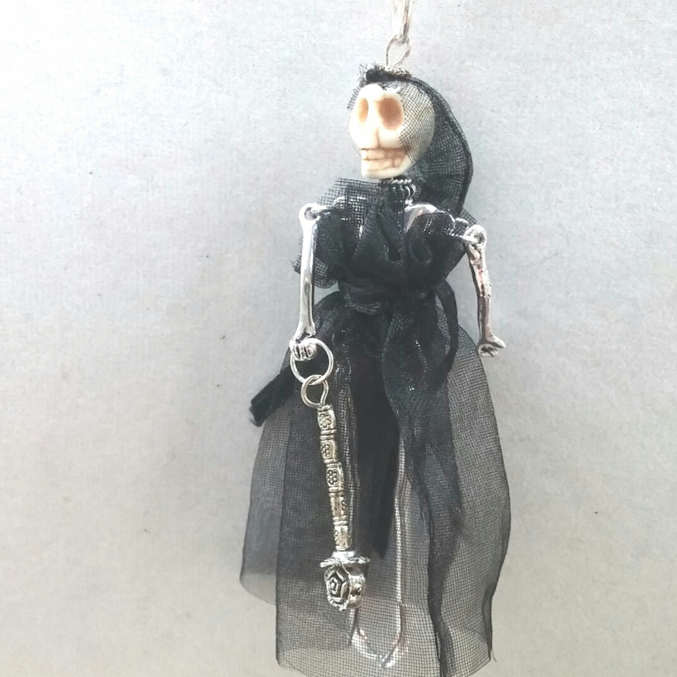 Doll Necklace, Doll, Tiny Doll, Statement Necklace, Artisian Necklace, Statement Jewelry, Alternative Jewelry, Goth Girl, Goth Jewelry, Black Jewelry, Corpse Bride