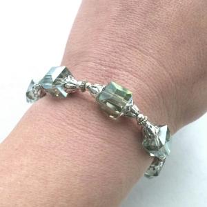 Silver Bracelet, Crystal Bracelet, Handmade Bracelet, Crystal Wedding Jewelry, Crystal Bridal Jewelry, Unique Handmade Jewelry, Statement Jewelry, Trendy Jewelry, Fashion Jewelry, Costume Jewelry